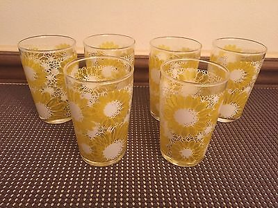 """Set of 6 Vintage ~ """"YELLOW DAISY / FLOWER"""" Juice Glass / Tumblers ~ 4"""" Tall"""