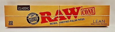 1 Box Raw Lean Pre-Rolled Cones 20 Per Box 110mm, Tip is 40mm & Free Shipping