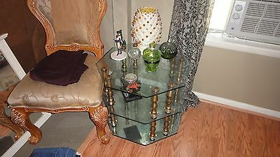Vintage Glass and Brass Octagonal Table