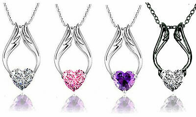 Rhodium Plated Heart With Synthetic Stone Angel Wings Necklace- Pick Your Color!
