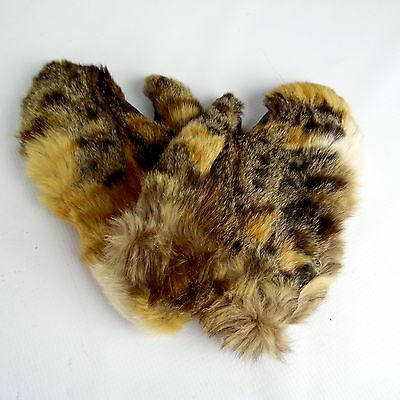 Antique Early 1900's Genuine Fur Gloves w/ Leather Palms Soft