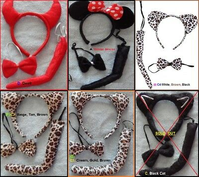 ANIMAL Ears Headband Tie Tail SETS ~ Cat MOUSE Leopard DEVIL Bear Costume Party