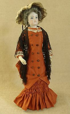 "Antique/vintage French Fashion Doll Walking Dress & Hat 18"" Doll"