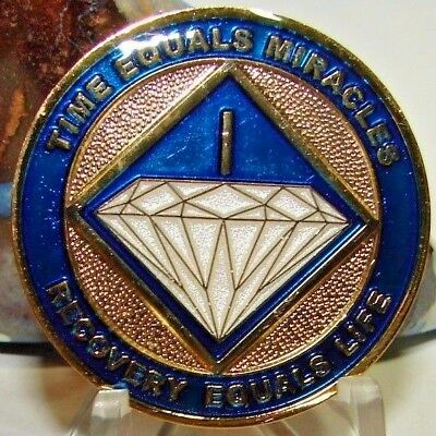 Alcoholics Anonymous AA NA Tri Plate Blue Gold 1 Year Recovery Medallion Coin