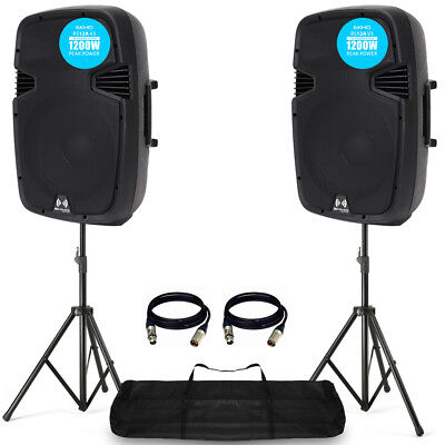 "2x PRO RS12A V3 Active PA Speaker 2400W 12"" DJ Disco Sound System with Stands"