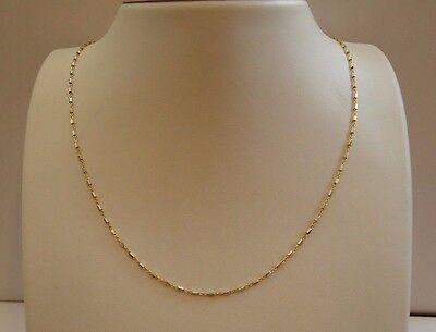 18K Yellow Gold Over 925 Sterling Silver Ladies Designer Two Tone Chain /18''