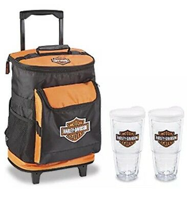 Harley Davidson Rolling Backpack Cooler With  2 Tervis Tumblers