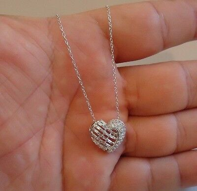 925 Sterling Silver Heart Necklace Pendant W/ 1.50 Ct Lab Diamonds / 18''