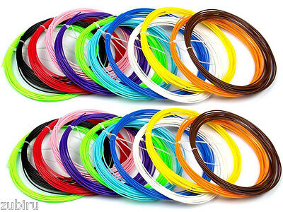 3D Printer Pen ABS Filament 1.75mm ,15 colors 3mts each for Modelling ,crafting.