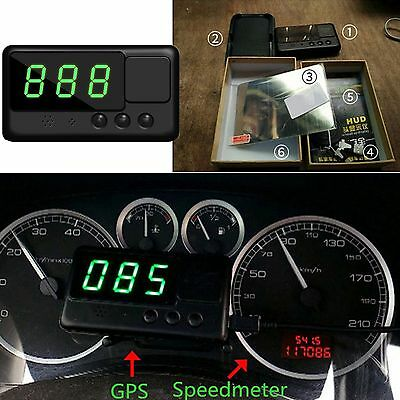 Universal Cars HUD GPS Speedometer Head UP Display MPH/KM/H Plug Overspeed Alarm