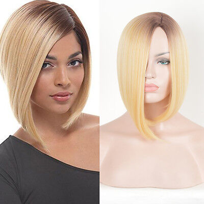 Blonde Straight Bob Style Hair Dark Root Ombre Synthetic Wigs Women Short Wig