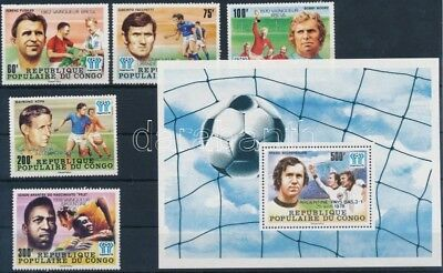 Congo (Brazzaville) stamp Football world cup overprinted set + block WS169488