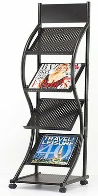 Display Stand Magazine Leaflet Rack Showroom Unit Curved 4 Shelf Portable