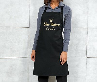 Personalised Star Baker Apron - Black/Gold - Ideal Birthday/ Christmas Gift