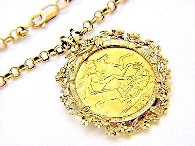 9ct 9Carat Yellow Gold Belcher Linked Chain & 9ct 22ct George V 1911 £2 Pendant