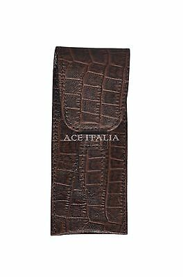 New Double Pen Holder Leather Luxury Real Genuine Croc print Leather  Case Pouch