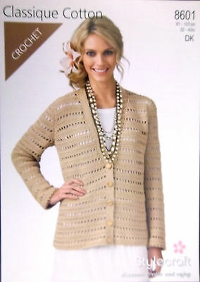 "Stylecraft  DK Crochet pattern Ladies cardigan 32"" - 42""   8601 d"