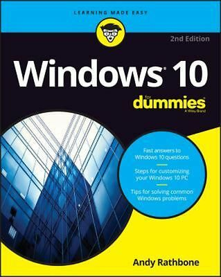 Windows 10 for Dummies by Andy Rathbone (English) Paperback Book Free Shipping!