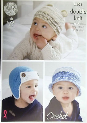 King Cole Crochet DK pattern baby hats to fit 0 - 12 months  6 styles 4491