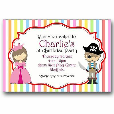 10 PERSONALISED BIRTHDAY Party Invitations Princess And Pirate Fancy Dress A307