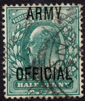 """KEVII  ½d Blue Green """" Army Official """"  SG O48 / 048 Good Used"""