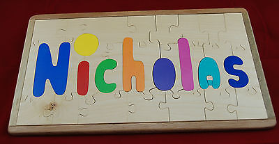 """Handcrafted  Puzzle Wooden,  By The Toy Tree,  Reads """"nicholas"""""""