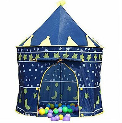 Boy Knights Castle Hut Ball Pit Indoor&outdoor Pop Up Kids Playhouse Tent - Blue
