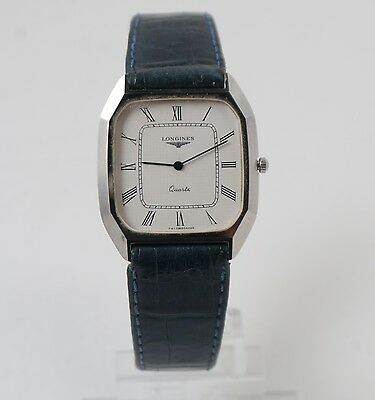 Longines quartz  angular oval watch steel blue leather strap Swiss made
