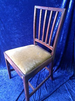 Antique Georgian Wooden oak Dining Chair - Solid heavy chair Gold Fabric -(1076)