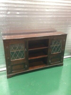 Vintage Sideboard Pine wood lead glass - Hotel restaurant country house (1082)