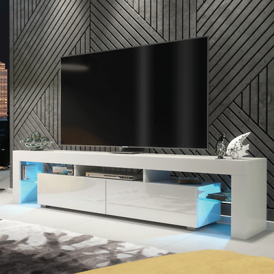 Modern TV Unit Cabinet Stand Matt body and High Gloss fronts, FREE LED RGB!