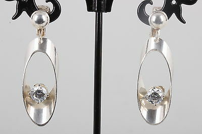 Sterling Silver Clip On Clear Stone Earrings 925 8879