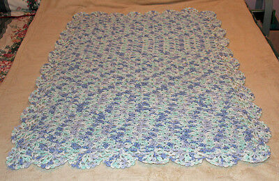"Marvelous Multi Colored Crocheted Baby Blanket 31""X 43"""