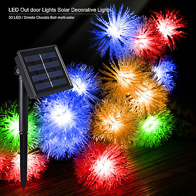 Solar Power 30 LED 20ft  Outdoor Multi-Colored Chuzzle Ball  String Lights
