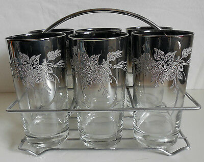 Vtg Mid Cent 6 Drinking Glass Set w/Caddy Embossed Floral Rimmed Silver Fade