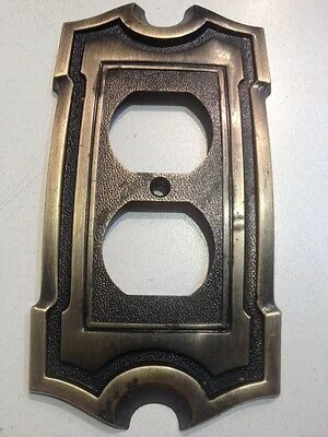 Vintage Brass Single Outlet Plug Cover Plate AH American Hardware