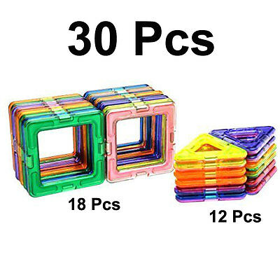 30Pcs All Magnetic Building Blocks Construction Similar Magformers Toys Magspace
