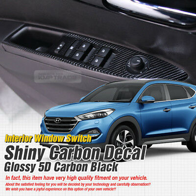 Interior Window Switch 5D Glossy Shiny Carbon Decal 4P For HYUNDAI 16-17 Tucson