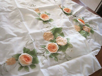 Pair Beautiful Applique Embroidery Rose Cutwork Curtain 92cm Drop Clearance