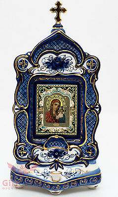 Russian Porcelain Gzhel Shrine Kiot Candlestick Icon Virgin Mary Our Lady  Kazan