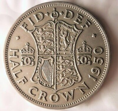 1950 GREAT BRITAIN 1/2 CROWN - Excellent Vintage Coin - Britain Half Crown Bin/6