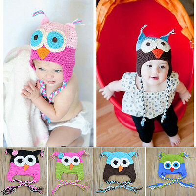 Fashion Cute Baby Boy Girl Toddler Owls Knit Crochet Hat Beanie Caps 17Color L1Y