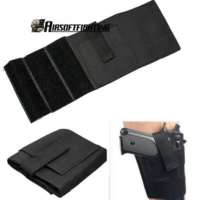 Tactical Molle Drop Leg Bag Pistol Pouch Gun Holster Hunting Black Camping