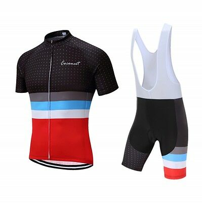 Black Red Splice Stripe Design Jersey  Breathable Cycling Clothing Bib Shorts