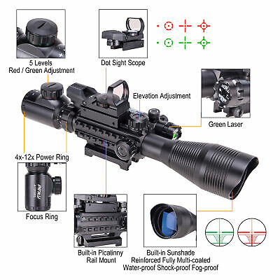 Pinty 4-12X50 Tactical Rangefinder Reticle Rifle Scope Green Laser & Dot Sight