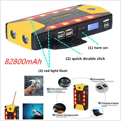 Multifunction High Power Car 82800mAh  Jump Starter Booster Battery 4USB Charger