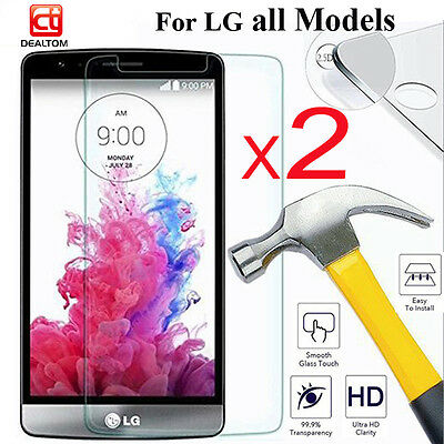 2Pcs 9H Real Tempered Glass Film Screen Protector Guard Cover For LG Cell Phone