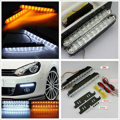 2 X 30LED Dual Color 6700K Car Autos Daytime Running Lights DRL Turning Signal