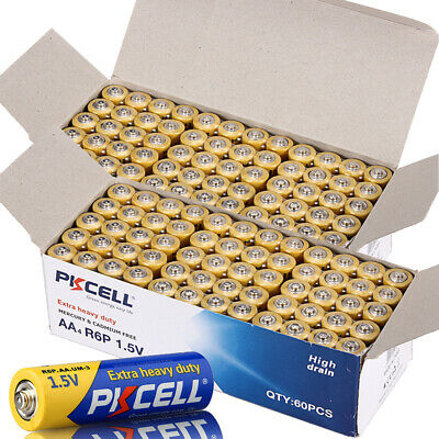 (120 Piece combo pack) PKCELL 1.5V Extra Super Heavy- 60 AA+ 60 AAA Batteries