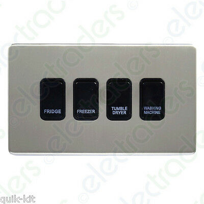 Flatplate Satin Chrome Kitchen Grid Switch Panel with Black Switches 8 gang